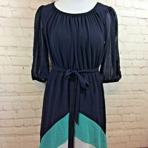 Sweet Storm Navy Blue Chiffon Dress Size Medium